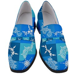 Background Blue Decoration Women s Chunky Heel Loafers by AnjaniArt