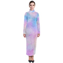Abstract Watercolor Turtleneck Maxi Dress by AnjaniArt