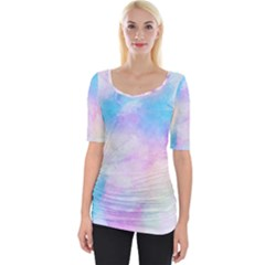 Abstract Watercolor Wide Neckline Tee by AnjaniArt