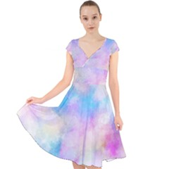 Abstract Watercolor Cap Sleeve Front Wrap Midi Dress