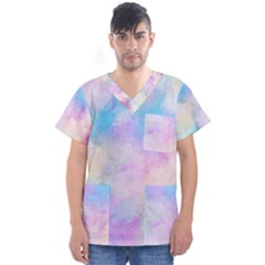 Abstract Watercolor Men s V Neck Scrub Top