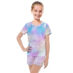 Abstract Watercolor Kids  Mesh Tee And Shorts Set