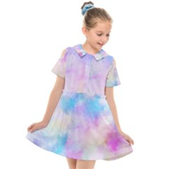 Abstract Watercolor Kids  Short Sleeve Shirt Dress by AnjaniArt