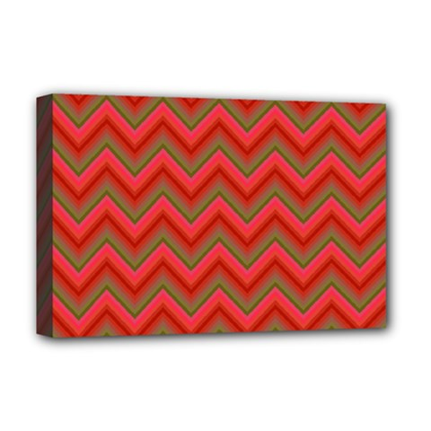 Background Retro Red Zigzag Deluxe Canvas 18  X 12  (stretched)