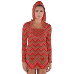 Background Retro Red Zigzag Long Sleeve Hooded T-shirt by AnjaniArt