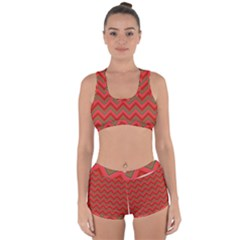 Background Retro Red Zigzag Racerback Boyleg Bikini Set