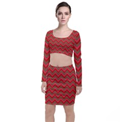 Background Retro Red Zigzag Top And Skirt Sets by AnjaniArt