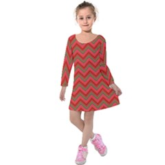 Background Retro Red Zigzag Kids  Long Sleeve Velvet Dress by AnjaniArt