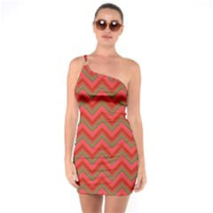 Background Retro Red Zigzag One Soulder Bodycon Dress