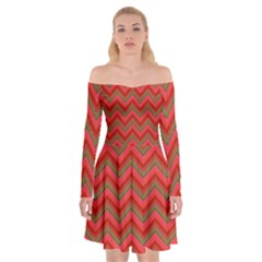 Background Retro Red Zigzag Off Shoulder Skater Dress