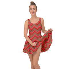 Background Retro Red Zigzag Inside Out Casual Dress