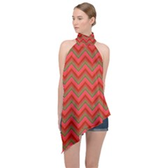 Background Retro Red Zigzag Halter Asymmetric Satin Top by AnjaniArt