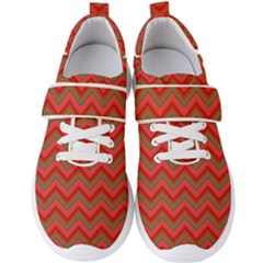 Background Retro Red Zigzag Men s Velcro Strap Shoes by AnjaniArt