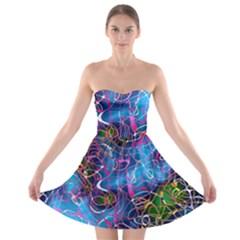 Background Chaos Mess Colorful Strapless Bra Top Dress