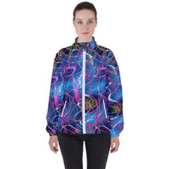 Background Chaos Mess Colorful High Neck Windbreaker (women)