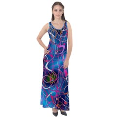 Background Chaos Mess Colorful Sleeveless Velour Maxi Dress