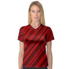 Background Red Lines V Neck Sport Mesh Tee