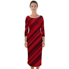 Background Red Lines Quarter Sleeve Midi Bodycon Dress by AnjaniArt