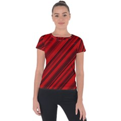 Background Red Lines Short Sleeve Sports Top  by AnjaniArt