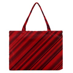 Background Red Lines Zipper Medium Tote Bag by AnjaniArt