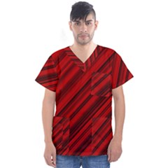 Background Red Lines Men s V Neck Scrub Top