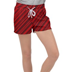 Background Red Lines Women s Velour Lounge Shorts
