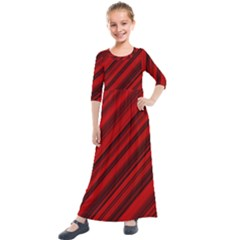 Background Red Lines Kids  Quarter Sleeve Maxi Dress by AnjaniArt