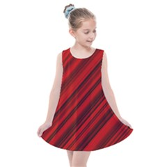Background Red Lines Kids  Summer Dress by AnjaniArt