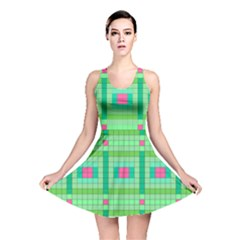 Checkerboard Squares Abstract Green Reversible Skater Dress