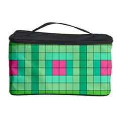 Checkerboard Squares Abstract Green Cosmetic Storage