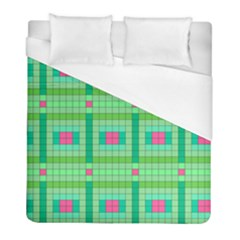 Checkerboard Squares Abstract Green Duvet Cover (full/ Double Size) by AnjaniArt