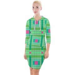 Checkerboard Squares Abstract Green Quarter Sleeve Hood Bodycon Dress by AnjaniArt