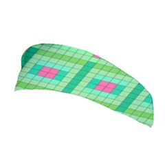 Checkerboard Squares Abstract Green Stretchable Headband