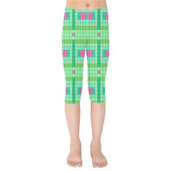 Checkerboard Squares Abstract Green Kids  Capri Leggings  by AnjaniArt