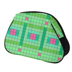Checkerboard Squares Abstract Green Full Print Accessory Pouch (small) by AnjaniArt