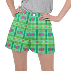Checkerboard Squares Abstract Green Stretch Ripstop Shorts