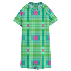 Checkerboard Squares Abstract Green Kids  Boyleg Half Suit Swimwear