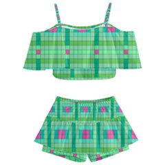 Checkerboard Squares Abstract Green Kids  Off Shoulder Skirt Bikini by AnjaniArt