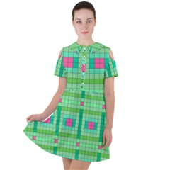 Checkerboard Squares Abstract Green Short Sleeve Shoulder Cut Out Dress  by AnjaniArt