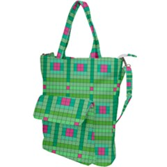 Checkerboard Squares Abstract Green Shoulder Tote Bag