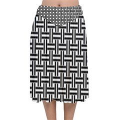 Braiding Vector Fabric Pattern Velvet Flared Midi Skirt by AnjaniArt