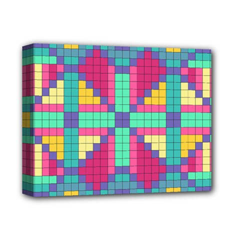Checkerboard Squares Abstract Deluxe Canvas 14  X 11  (stretched) by AnjaniArt