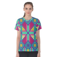 Checkerboard Squares Abstract Women s Cotton Tee