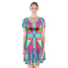 Checkerboard Squares Abstract Short Sleeve V Neck Flare Dress by AnjaniArt