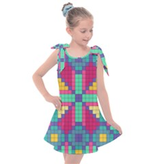 Checkerboard Squares Abstract Kids  Tie Up Tunic Dress