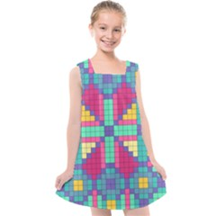 Checkerboard Squares Abstract Kids  Cross Back Dress by AnjaniArt