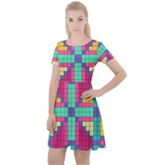 Checkerboard Squares Abstract Cap Sleeve Velour Dress  by AnjaniArt
