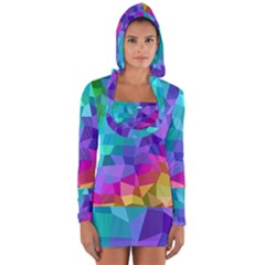 Colorful Multicolored Rainbow Long Sleeve Hooded T Shirt by AnjaniArt