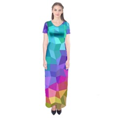 Colorful Multicolored Rainbow Short Sleeve Maxi Dress by AnjaniArt
