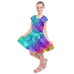 Colorful Multicolored Rainbow Kids  Short Sleeve Dress